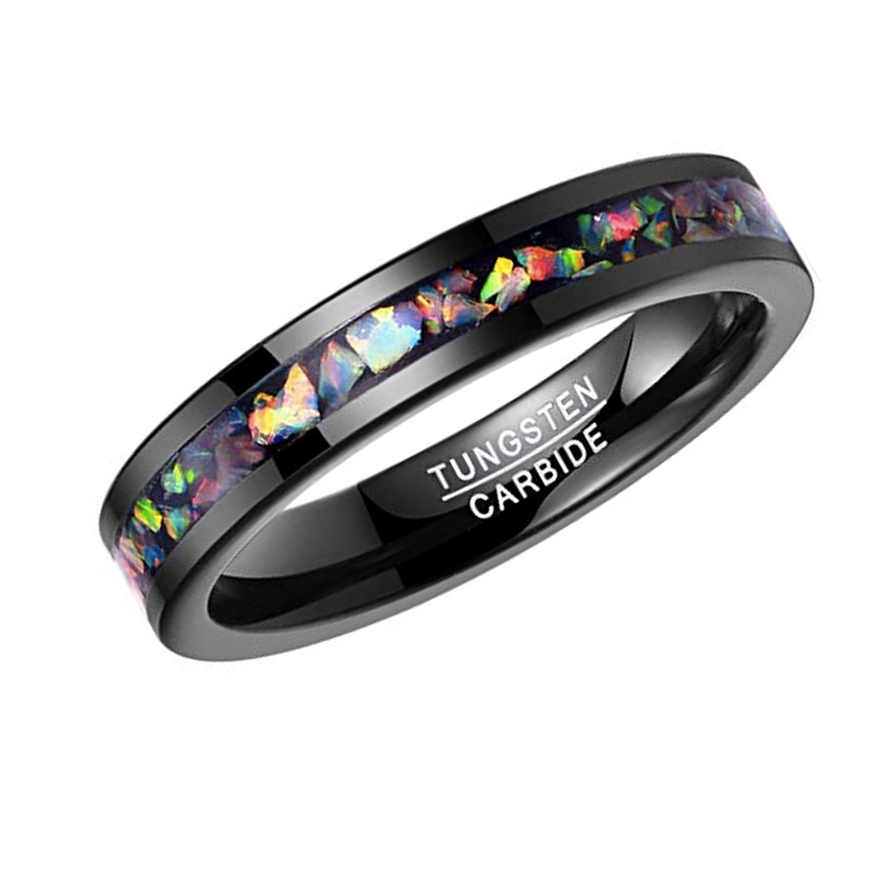 5mm Unisex Or Womens Tungsten Carbide Wedding Ring Bands Black Band And Multiple Color Rainbow Opal Inlay With Organic Tones