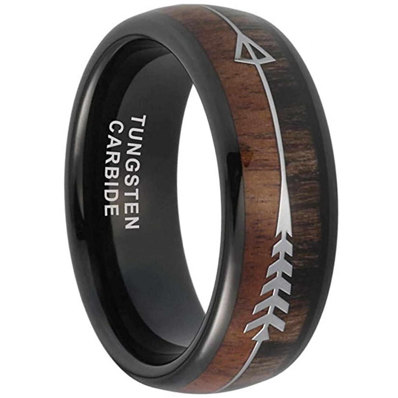 Mens Tungsten Wedding Bands.8mm Unisex Or Men S Tungsten Wedding Bands Black Cupid S Arrow Over Wood Inlay Tungsten Ring With High Polish Dark Wood Inlay Domed Top Ring