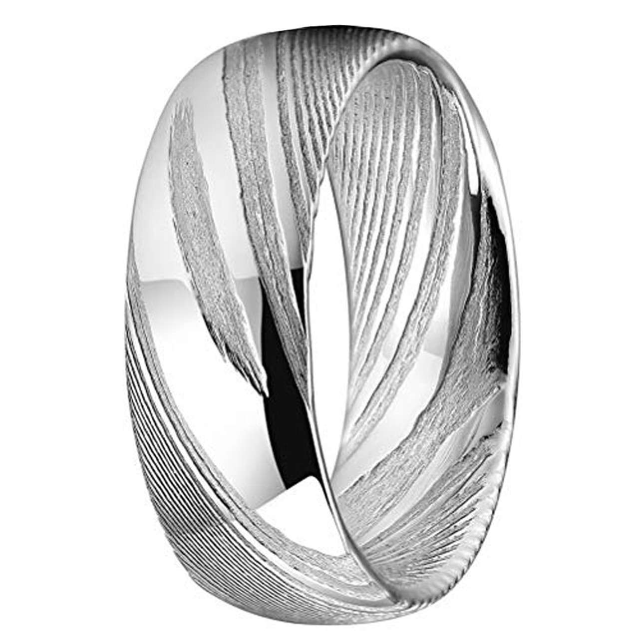 Wedding Bands Classic Bands Domed Bands Stainless Steel 4mm Black IP-plated Polished Band Size 10.5