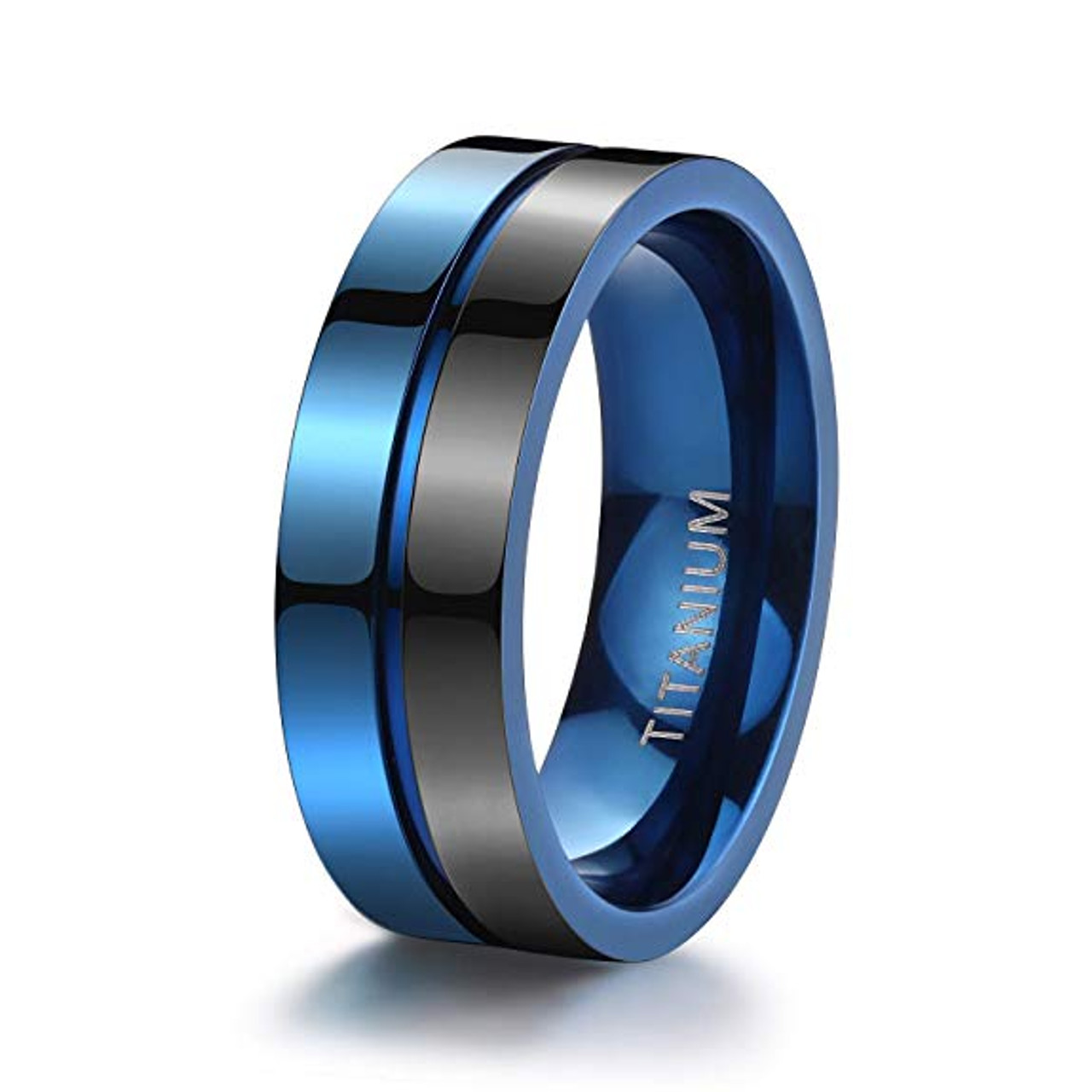 7mm Unisex Or Men S Titanium Wedding Ring Band Duo Tone Black And Blue Light Weight And Comfort Fit Ring Blingers