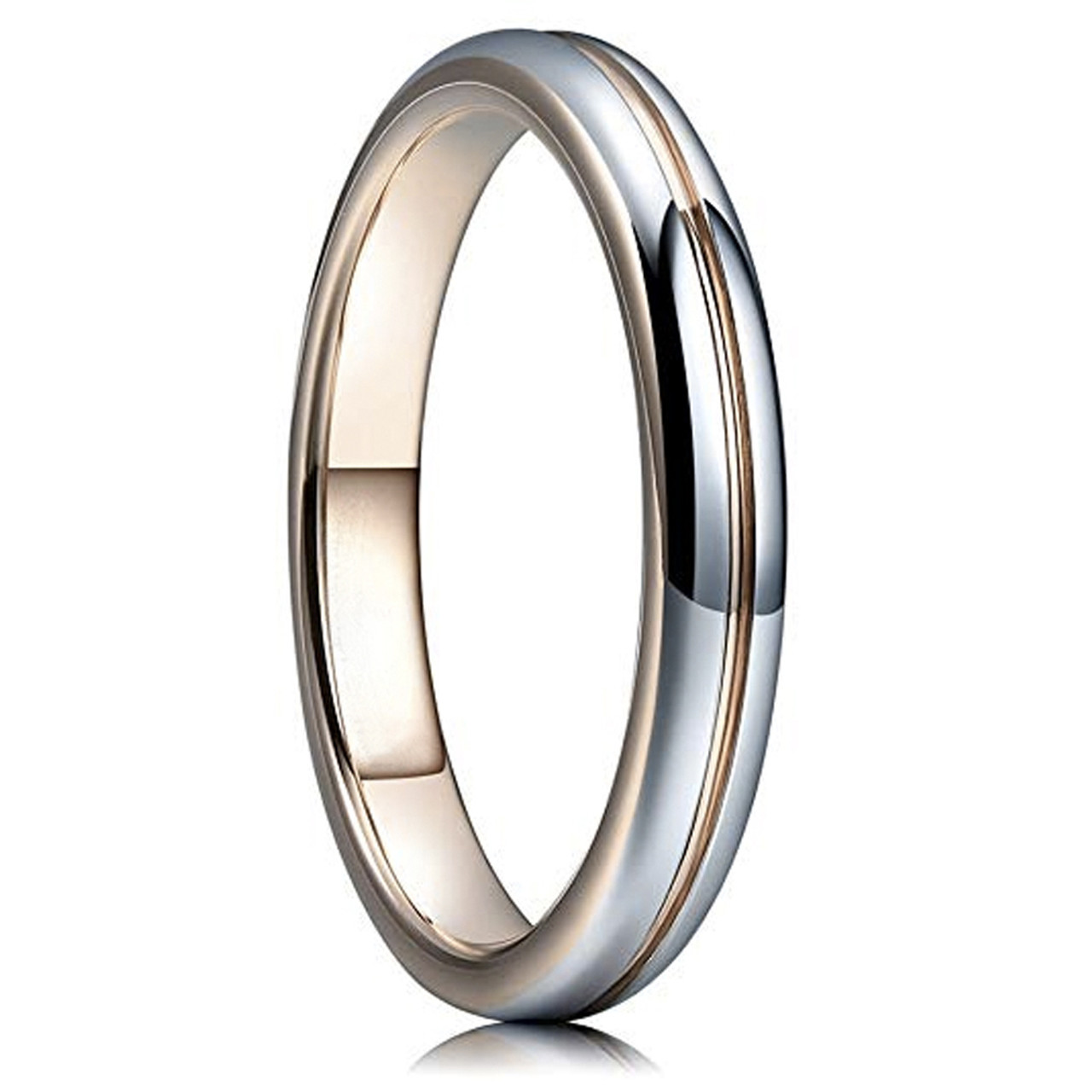655ccd7b35c80 (3mm) Unisex or Women's Tungsten Carbide Wedding ring band Ring. Shiny  Polished Gray and Rose Gold Groove Round Domed Comfort Fit. Wedding ring  bands