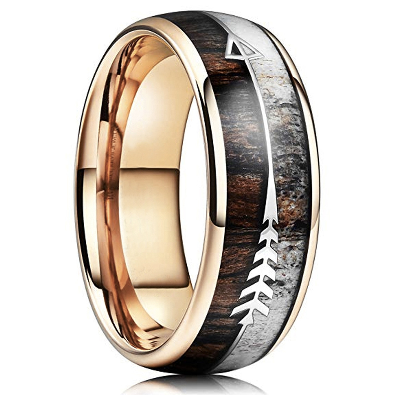 4mm Tungsten Ring Unisex Classic Style Domed Rose Gold Plated High Polish