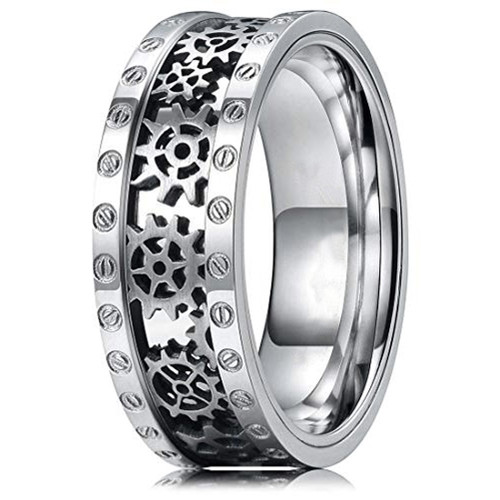 (8mm)  Unisex or Men's Titanium Wedding ring band. Wedding ring band - Silver Band with Cut out Silver Mechanical Gears and Bolts. Tungsten Carbide Ring
