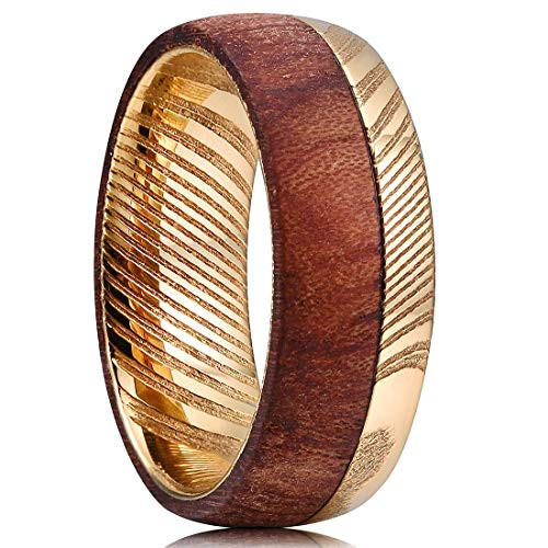 (8mm)  Unisex or Men's Damascus Steel Ring Wedding ring band. 14K Plated Gold and Half Side Wood Ring with Matte Top Polished Inner Band. Dome Top Ring.