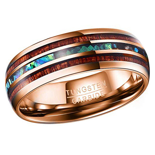 (8mm) Unisex or Men's Tungsten Carbide Wedding ring band - Rose Gold Tone Wood and Rainbow Abalone Shell Inlay Ring.