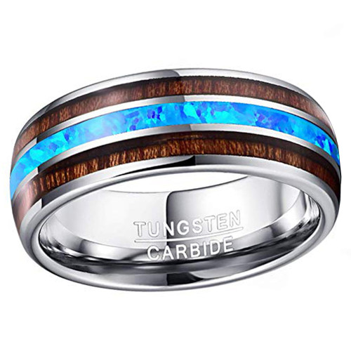 (8mm) Unisex or Men's Tungsten Carbide Wedding Ring Band - Silver Tone Wood and Sea Blue Opal Inlay Ring.