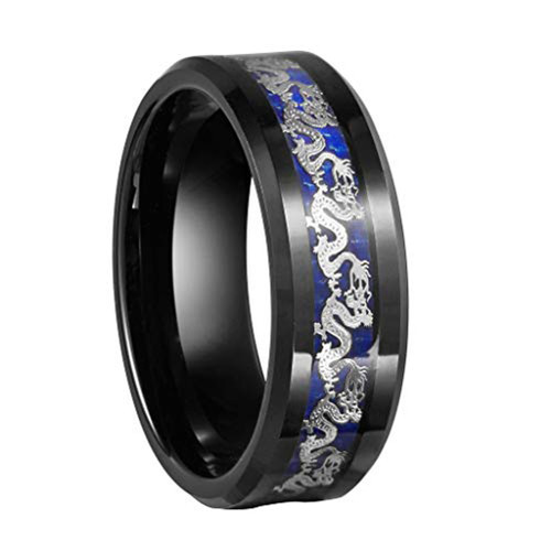 (8mm) Unisex or Men's Tungsten Carbide Wedding Ring Band. Black Ring with Silver Dragon over Blue Carbon Fiber inlay.
