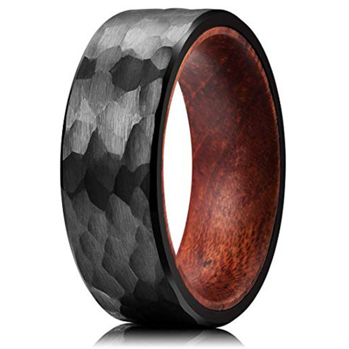 (8mm) Unisex or Men's Black Hammered Finish Tungsten Carbide Wedding Ring Band with Inside Wood Inlay