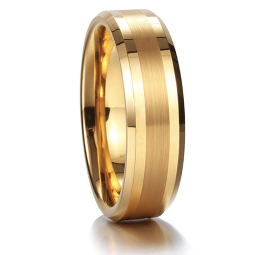 (6mm) Unisex or Women's Tungsten Carbide Wedding Ring Band. Gold Tone with Matte Finish Center Stripe. Comfort Fit.