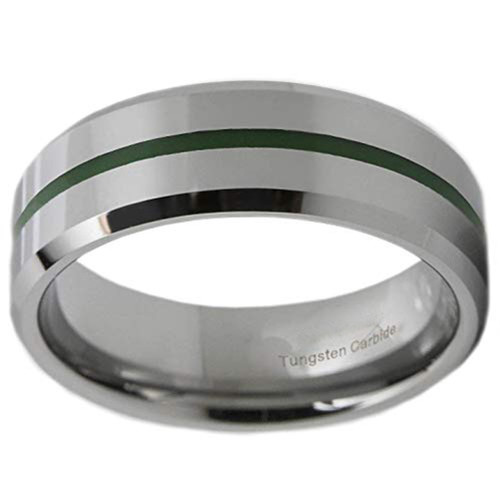 (8mm) Unisex or Men's Tungsten Carbide Wedding ring band. Silver and Green Line Tungsten Carbide Ring. Comfort Fit Beveled Edge.
