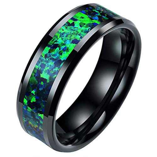 (8mm) Unisex or Men's Ceramic Wedding Ring Bands. Black Ring with Green Blue Opal Inlay.