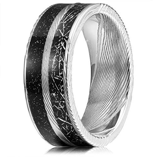 (8mm)  Unisex or Mens Real Damascus Steel Band. Silver Tone Band with Ebony Black Inspired Meteorite and Space Design Inlay Wedding Ring