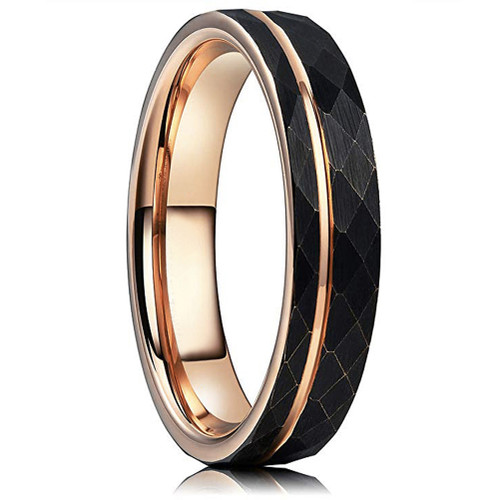 (4mm)  Women's Tungsten Carbide Wedding ring band. Hammered Brushed Black Tungsten Carbide Ring with Rose Gold Interior and Stripe Design