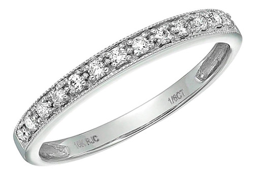 Classic Women's White Gold Diamond Wedding Bands. 10K White Gold Milgrain Diamond Wedding ring band (1/6 CT )