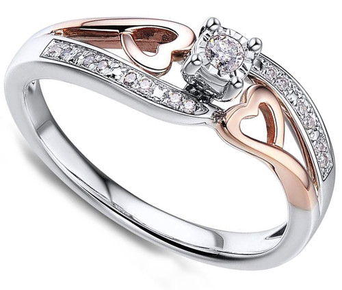 Women's Heart Shaped Diamond Engagement Ring - 10k Rose Gold and Rhodium Plated Sterling Silver - Women's Promise Rings (1/10 Carat)