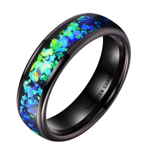 (6mm) Unisex, Men's or Women's Tungsten Carbide Wedding Ring Band - Black Tone with Vibrant Blue and Green Inlay Ring.