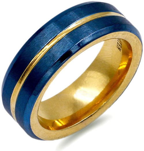 (8mm) Unisex or Men's Steel Wedding Ring Band. Matte Finish Blue Band with Yellow Gold Groove. High Polish Inside Gold Tone.