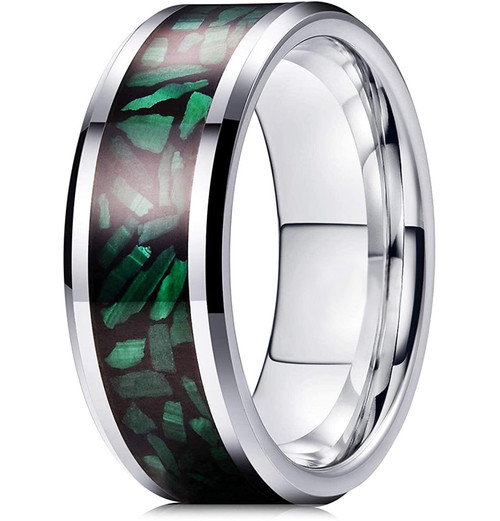 (8mm) Unisex or Men's Green Malachite Inlay Tungsten Carbide Wedding ring band Ring. Silver Tone Tungsten Carbide Ring Comfort Fit.