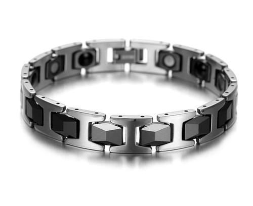 "8"" Inch Length - Mens Tungsten Bracelet -  Black and Silver Duo Tone Bracelet for Men"