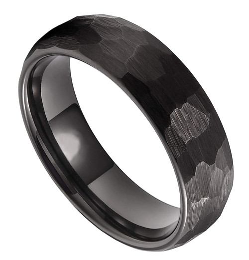 (6mm) Unisex, Men's or Women's Black Hammered Finish Tungsten Carbide Wedding Ring Band with Domed Top Style