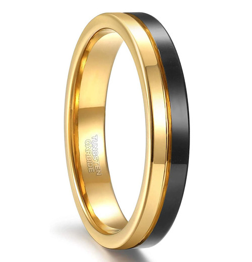 (4mm) Unisex or Women's Gold and Black Split Groove Tungsten Carbide Wedding Ring Band