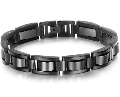 """8.5"""" Inch Length - Mens Bracelet - All Black - Mens Stainless Steel Bracelets"""