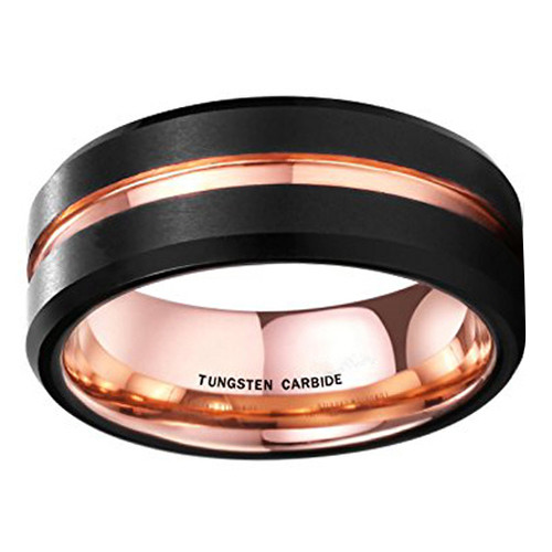 (8mm) Unisex or Men's Black and Rose Gold Matte Finish Tungsten Carbide Wedding Ring Band. Grooved with Beveled Edge