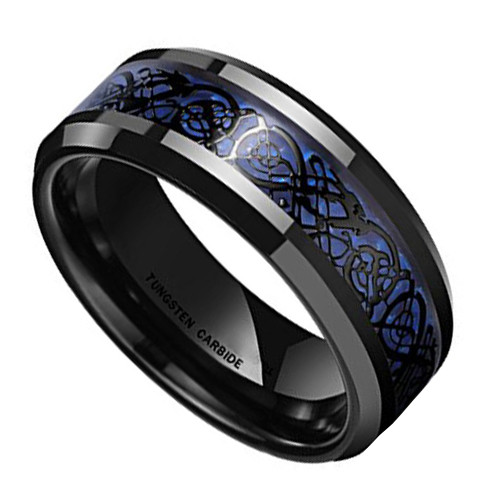 (8mm) Unisex or Men's Celtic Knot Black with Blue Resin Inlay Tungsten Carbide Wedding Ring Band.