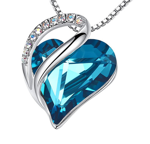 """December Birthstone - Indicolite Blue Looped Heart Design Crystal Pendant and CZ stones - with 18"""" Chain Necklace. Gift for Lover, Girl Friend, Wife, Valentine's Day Gift, Mother's Day, Anniversary Gift Heart Necklace."""