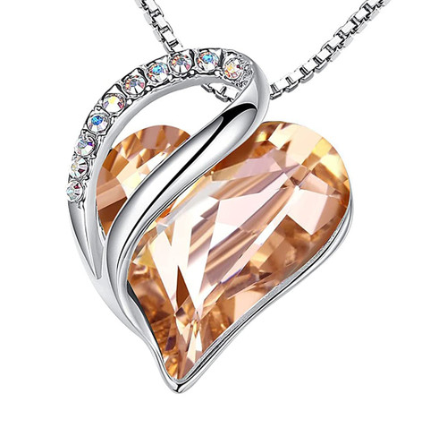 """Orange Carnelian Looped Heart Design Crystal Pendant and CZ stones - Spiritual Energy Stone with 18"""" Chain Necklace. Gift for Lover, Girl Friend, Wife, Valentine's Day Gift, Mother's Day, Anniversary Gift Heart Necklace."""