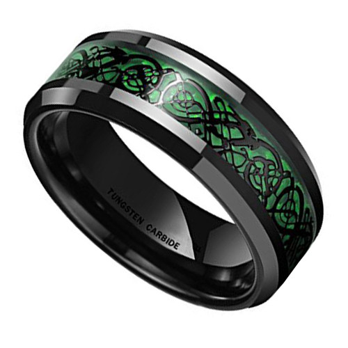 (8mm) Unisex or Men's Celtic Knot Black with Green Resin Inlay Tungsten Carbide Wedding Ring Band.