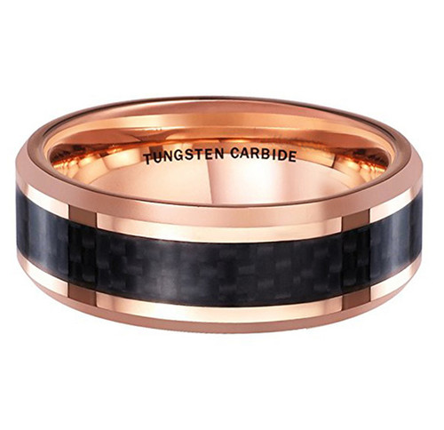 (8mm) Unisex or Men's Tungsten Carbide Wedding Ring Band. 18K Rose Gold band with Black Carbon Fiber Inlay.