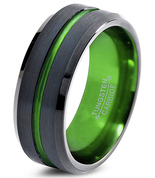 (8mm) Unisex or Men's Black and Green Groove Line Matte Finish Tungsten Carbide Wedding Ring Band with Beveled Edges