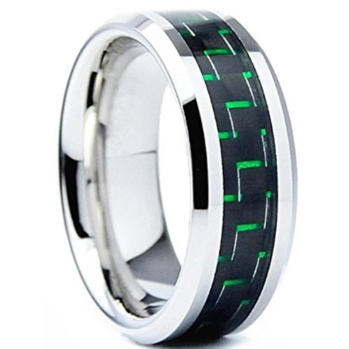(8mm) Unisex or Men's Tungsten Carbide Wedding Ring Bands. Silver Ring with Green Carbon Fiber Inlay.