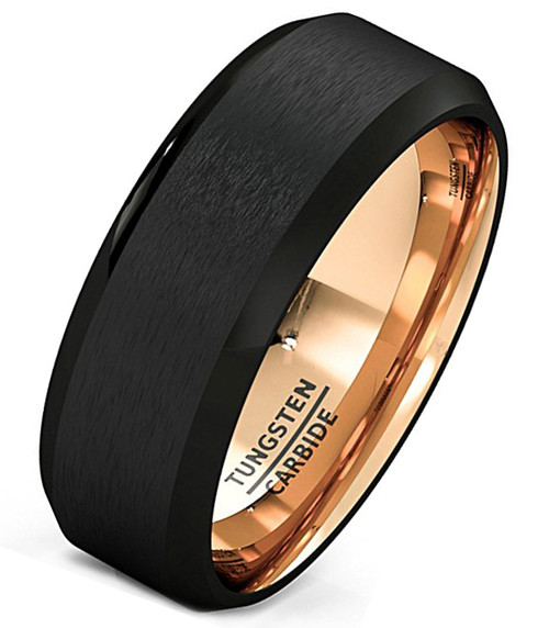 (8mm) Unisex or Men's Black and Rose Gold Inside Matte Finish Tungsten Carbide Wedding Ring Band with Beveled Edges.