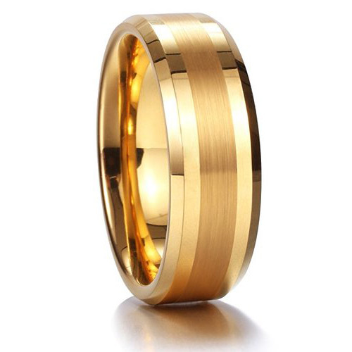 (8mm) Unisex or Men's Tungsten Carbide Wedding Ring Band. Gold Tone with Matte Finish Center Stripe. Comfort Fit.
