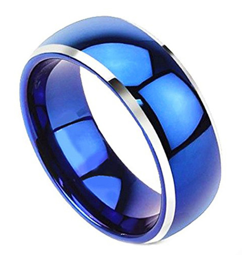 (8mm) Unisex or Men's Tungsten Carbide Wedding Ring Band. Blue Domed Top Two Tone Silver Side Edges Striped High Polish Comfort Fit Ring.