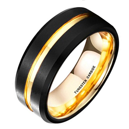 (8mm) Unisex or Men's Tungsten Carbide Wedding Ring Band. Black Matte Finish with 18K Yellow Gold Inside and Groove. Beveled Edge Ring.