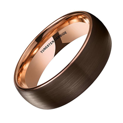 (8mm) Unisex or Men's Tungsten Carbide Wedding Ring Band. Brown Band with Matte Finish Top with Inside Rose Gold. Comfort Fit, Domed Top Ring.