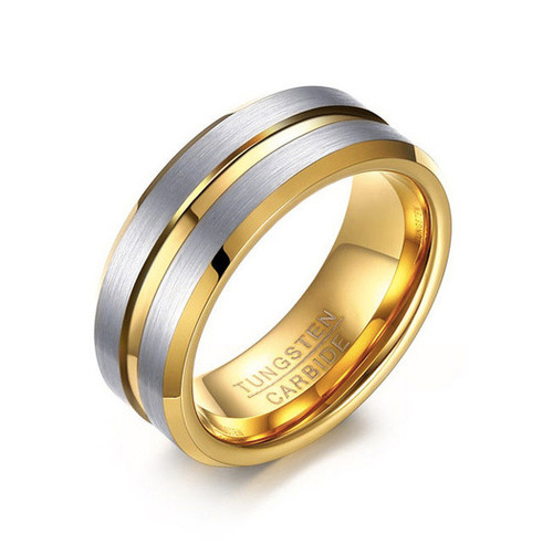 (8mm) Unisex or Men's Tungsten Carbide Wedding Ring Band. Matte Finish Gray / Silver Top with Yellow Gold Groove and Inside. Beveled Edge Ring.