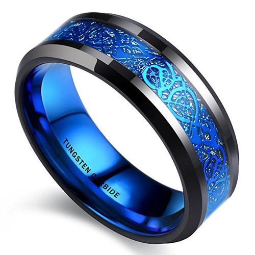 watch 751ab 759ed (8mm) Unisex or Men s Black and Blue Celtic Tungsten Carbide Wedding Ring  Band.