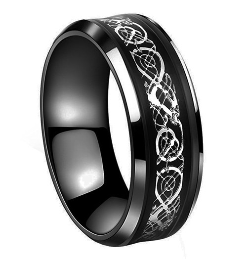 8mm Unisex Or Men S Black And Silver Celtic Knot Tungsten Carbide