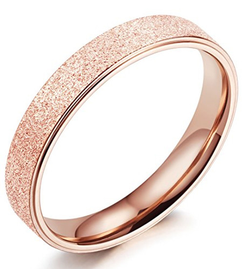 (4mm) Women's Rose Gold Sand Blasted Glittery Finish Titanium Wedding Ring Band with Flat Edge
