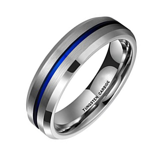 (6mm) Unisex or Women's Silver and Blue Tone Matte Finish Tungsten Carbide Wedding Ring Band with Beveled Edges and Groove