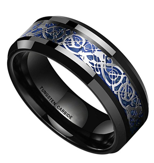 (8mm) Unisex or Men's Tungsten Carbide Wedding Ring Band. Celtic Knot Black with Silver and Blue Resin Inlay Ring