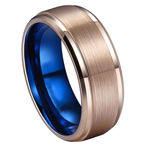 8mm Unisex Or Men S Rose Gold With Inner Blue Tungsten Carbide
