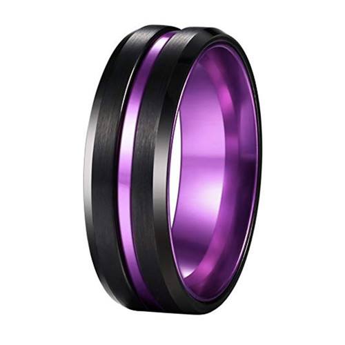 (8mm) Unisex or Men's Wedding Tungsten Carbide Wedding Ring Band. Black and Purple Groove. Matte Finish with Beveled Edges
