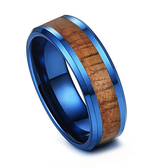 (8mm) Unisex or Men's Tungsten Carbide Wedding Ring Bands. Blue Band with Dark Wood Inlay. High Polish Ring with Beveled Edges.
