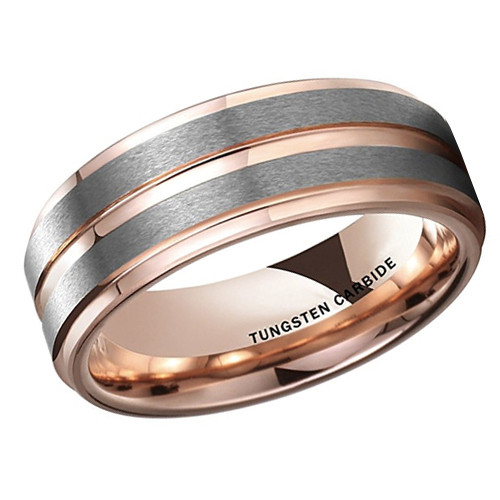 (8mm) Unisex or Men's Tungsten Carbide Wedding Ring Band. Gray Silver Top with Rose Gold Groove Center and Inside. Beveled Edges.