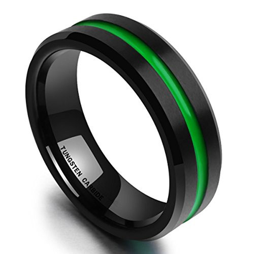 (8mm) Unisex or Men's Tungsten Carbide Wedding Ring Band. Matte Finish Black Top with Green Groove and Beveled Edges.